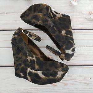 Sam Edelman leopard print satin wedge heels
